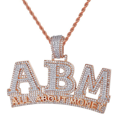 Custom Silver All About Money 3D Rose Gold Finish Pendant With Chain - SD JEWELS
