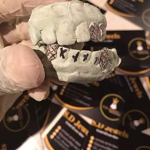 4 silver teeth with diamond dust cuts - SD JEWELS