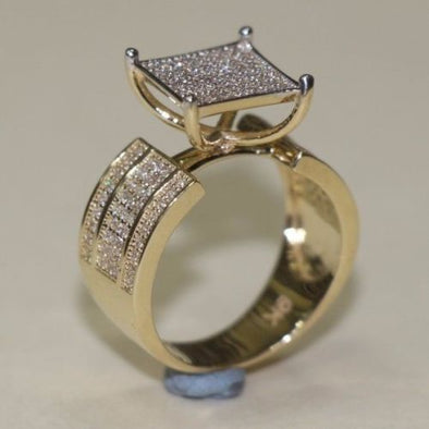 Gold Ring Unique Design 9 CT with CZ Stones - SD JEWELS