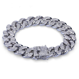 925 STERLING SILVER ICED OUT CUBAN BRACELET - SD JEWELS