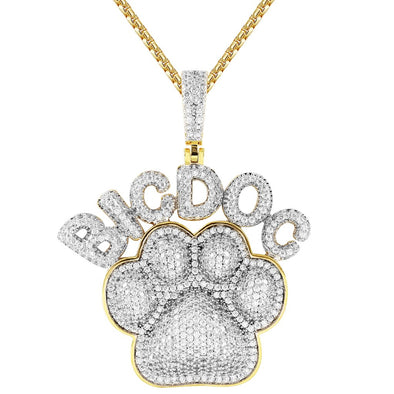 Men's Big Dog Paw Animal Pet Print Silver Iced Out Pendant With Chain - SD JEWELS