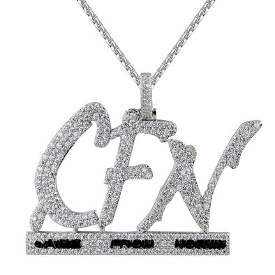 Men's Hip Hop CFN Came From Nothin Grind Silver Pendant With Chain - SD JEWELS