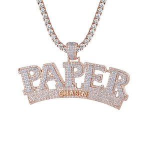 Silver Custom Paper Chasin Money Gold Finish 3D Men's Pendant With Chain - SD JEWELS