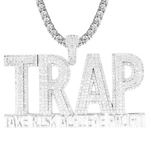 Men's Silver TRAP Double Layer Iced Out Profit Custom Pendant With Chain - SD JEWELS