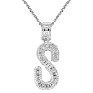 New Sterling Silver Baguette Iced Out Custom Name Initials - SD JEWELS