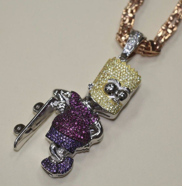 Silver Bart Simpson Pendant with CZ Stones