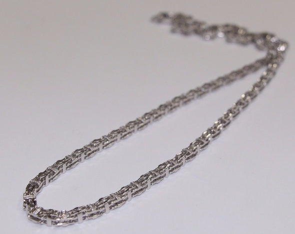 Silver Cage Chain ALL WHITE GOLD PLATED with CZ Stones 36inches 105g - SD JEWELS