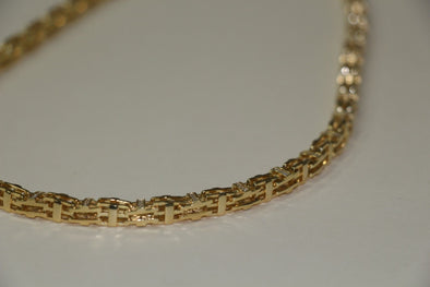 Silver Cage Chain GOLD Plated with CZ Stones 36inches 105g - SD JEWELS