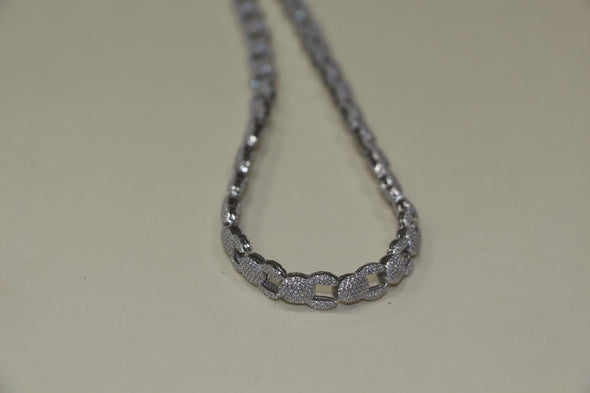 Silver Coffee Bean Style Chain with CZ STONES - SD JEWELS