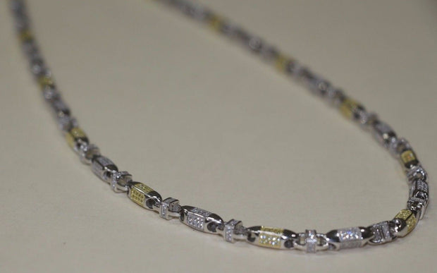 Silver Cubic Link Style Chain Yellow&White - SD JEWELS