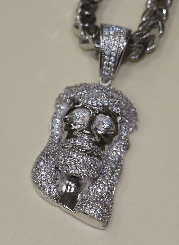 Silver Jesus Iced Out Hiphop Pendant White Gold Finish - SD JEWELS