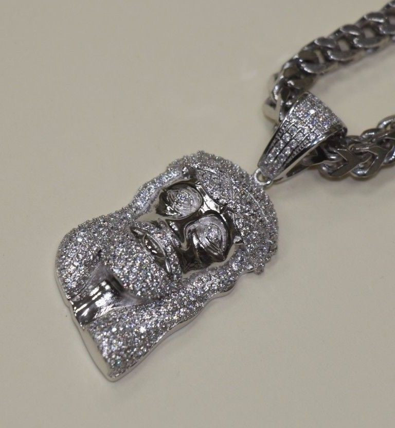 Attractive custom made grillz unique gold and silver jewellery silver jesus iced out hiphop pendant white gold finish sd jewels aloadofball Choice Image