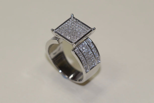 Silver Mens Ring Special Style CZ White Gold Finish