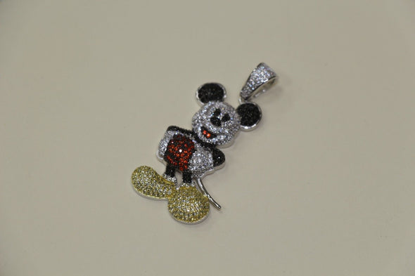 Silver Micro Mickey Mouse Design Pendant Bling Style with CZ Stones - SD JEWELS