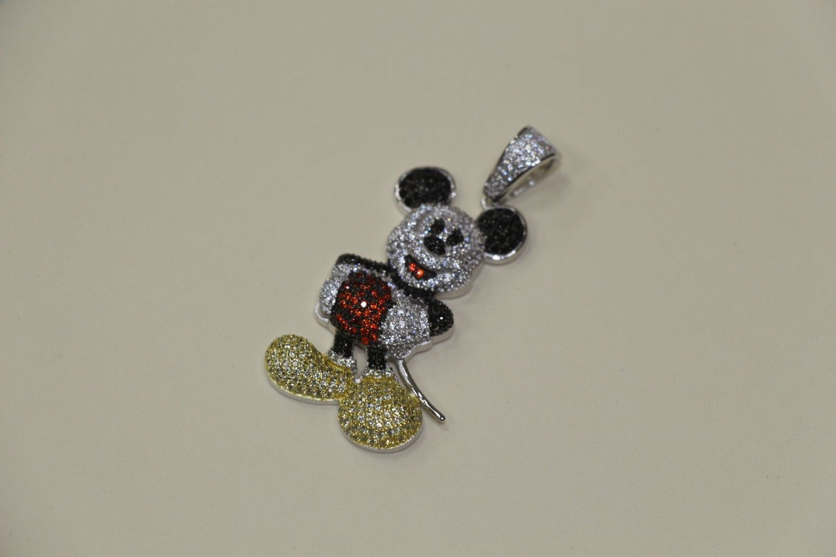 Silver Micro Mickey Mouse Design Pendant Bling Style with CZ Stones