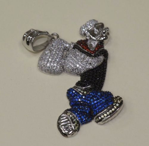 Silver Popeye Design Pendant Bling Style with CZ Stones - SD JEWELS