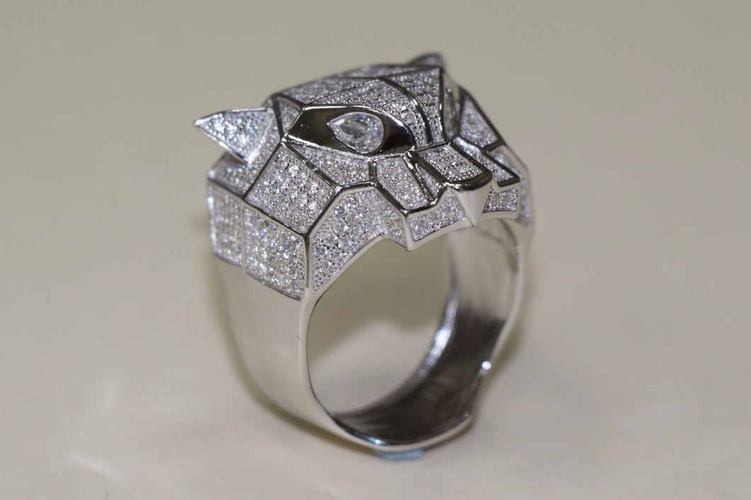Silver Ring Panther Design Mens CZ White Gold Finish - SD JEWELS