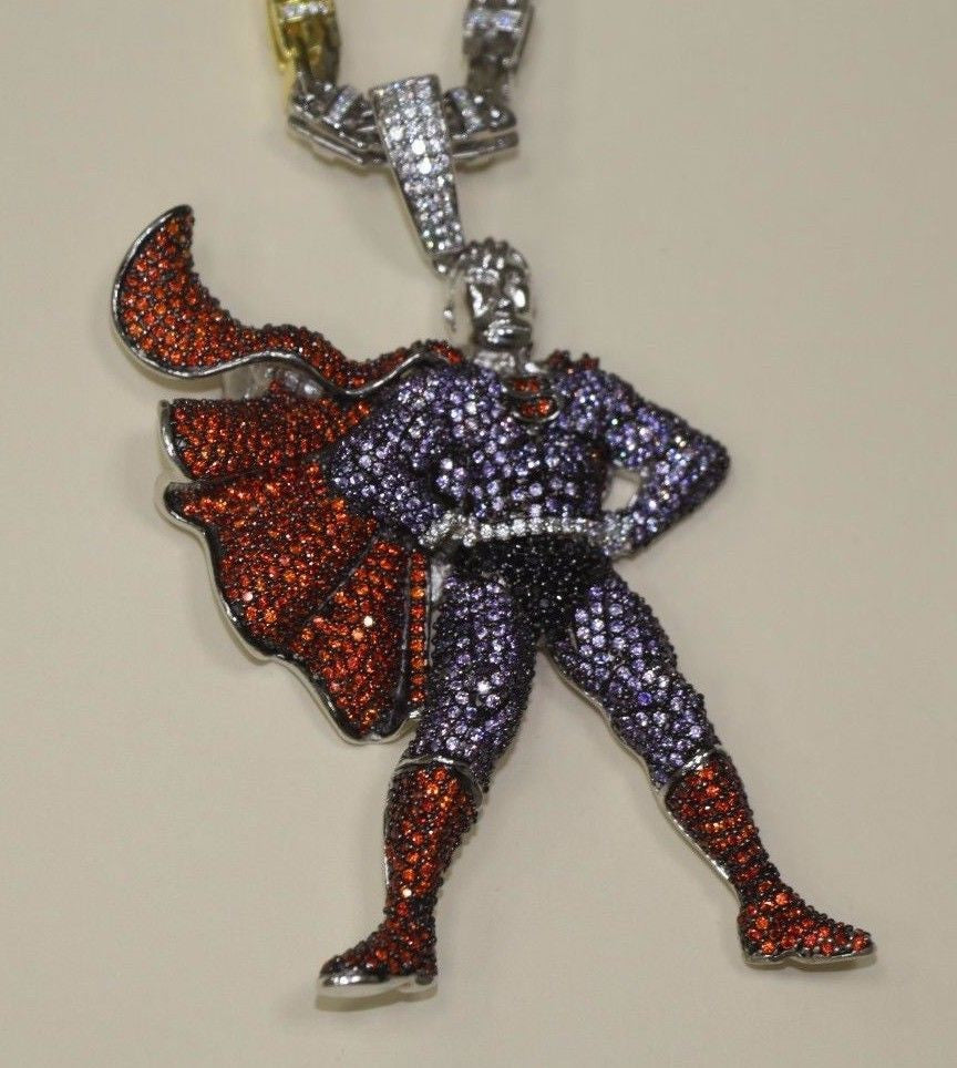 Silver SuperMan Design Pendant Bling Style with CZ Stones