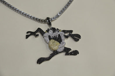 Silver Tazmania Design Pendant Bling Style with CZ Stones - SD JEWELS