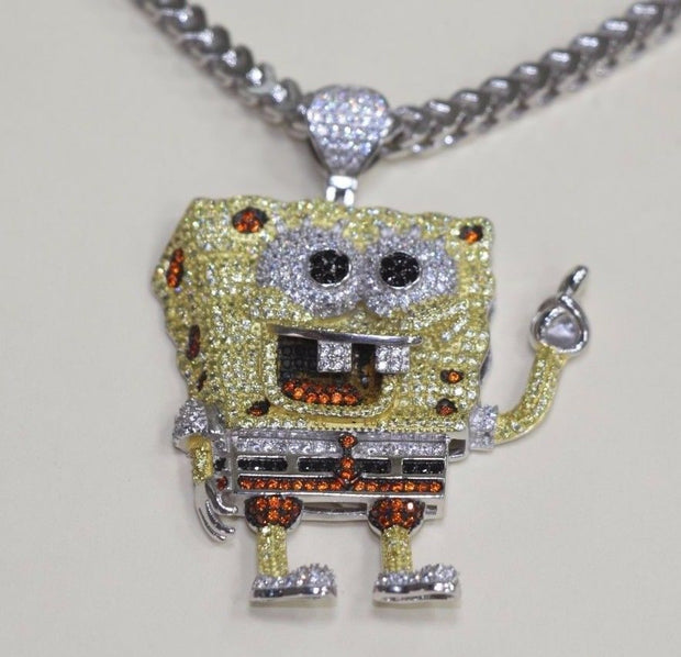 Silver SpongeBob Design Pendant Bling Style with CZ Stones