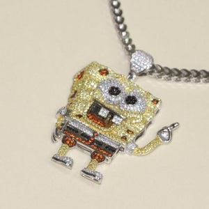 Silver SpongeBob Design Pendant Bling Style with CZ Stones - SD JEWELS