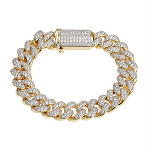 XL 925 STERLING SILVER ICED OUT CUBAN BRACELET - SD JEWELS