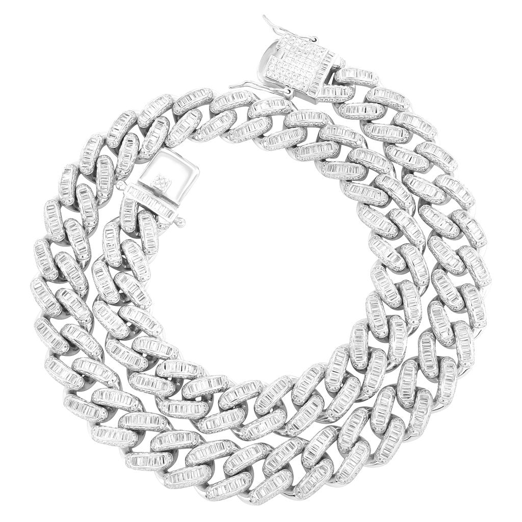 Sterling Silver Hip Hop 12mm Miami Cuban Baguette Necklace - SD JEWELS