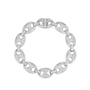 Iced Out Gucci Link Sterling Silver Bracelet - SD JEWELS