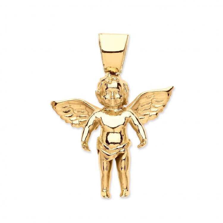 10k Yellow Gold Large Charm Angel Pendant