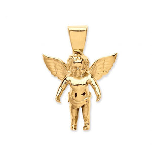 10k Yellow Gold Small Charm Angel Pendant - SD JEWELS