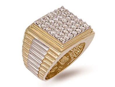 9ct Yellow Gold Square Top Gents Cz Ring 13.5g - SD JEWELS