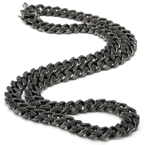 Sterling Silver Black Iced Out Custom Cuban Necklace - SD JEWELS