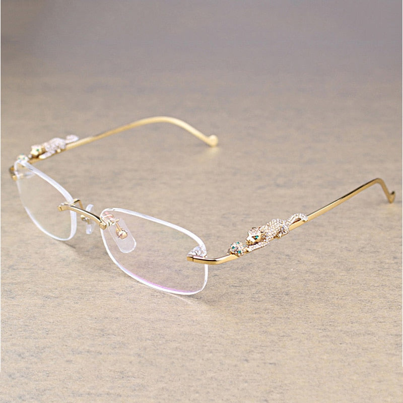 Leopard Rimless Clear Glasses - SD JEWELS