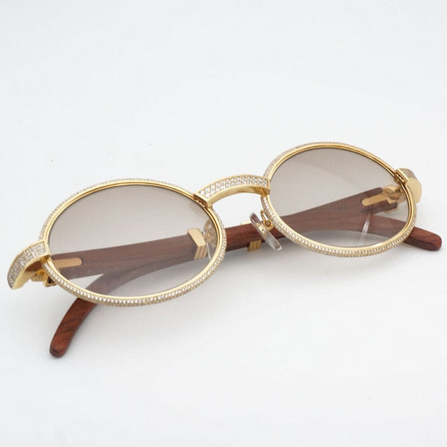 Diamond Sunglasses with Wooden Frame - SD JEWELS