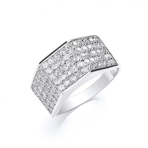 9ct White Gold Gents Five Row Cz Ring - SD JEWELS