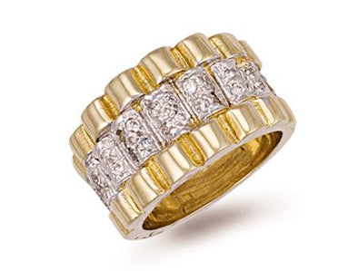 Large 9ct Yellow Gold ring with CZ stones - SD JEWELS