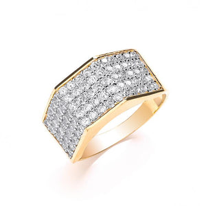 9ct Yellow Gold Gents Five Row Cz Ring - SD JEWELS