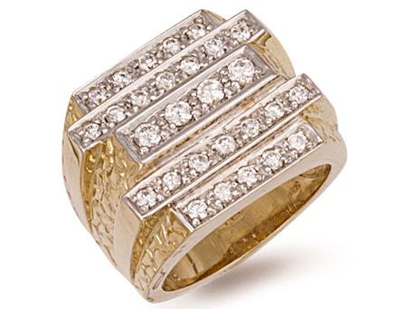 Layered 9ct Yellow Gold Large Gents Cz Ring 19.5g - SD JEWELS