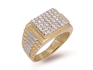 9ct Yellow Gold Square Top Gents Cz Ring  9.3g - SD JEWELS