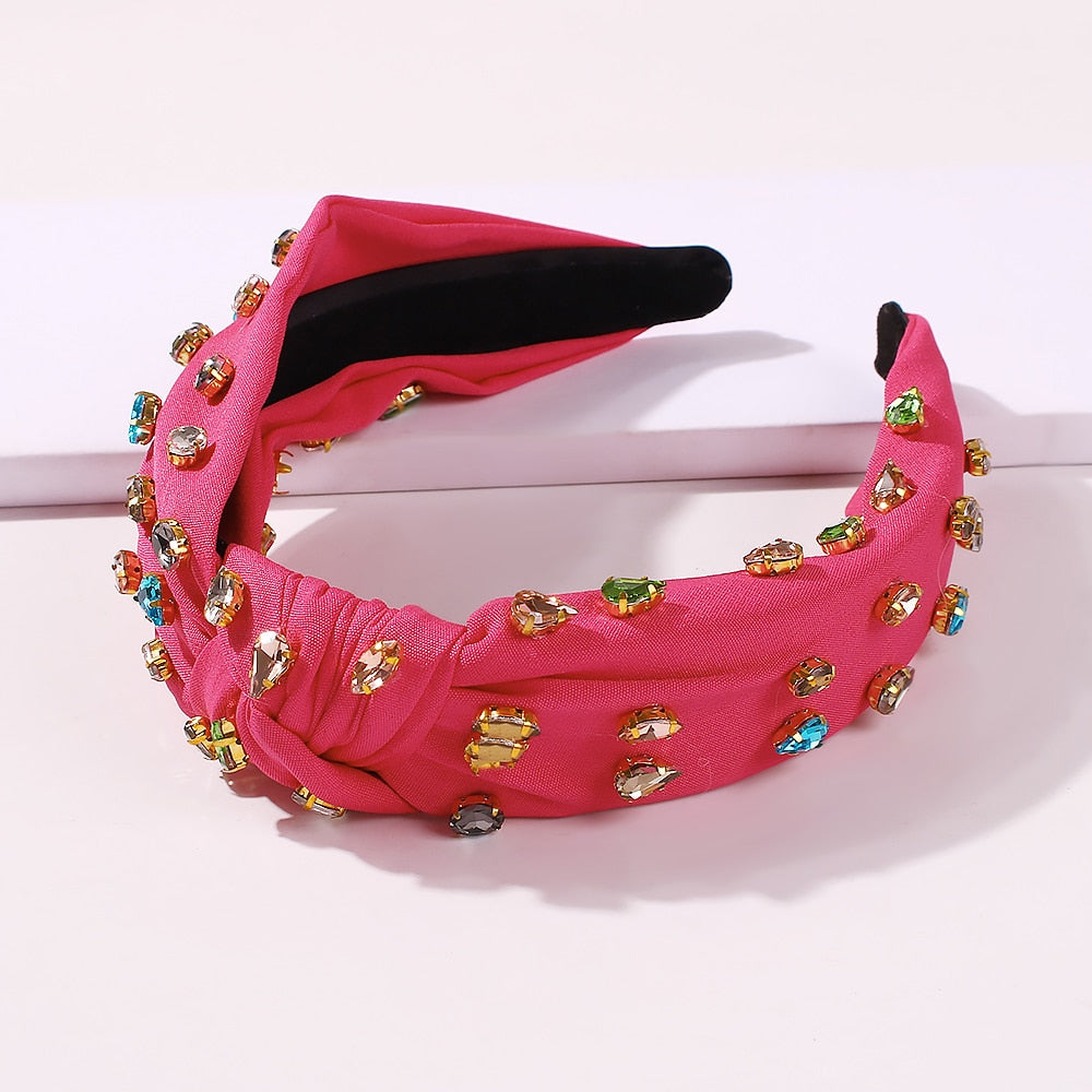KNOTTED ROSE RED CANDY JEWELED HEADBAND X SELFMADEBABES