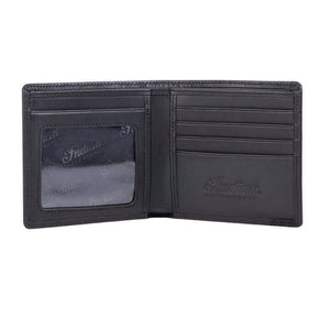 Leather Bi-Fold Wallet with Embossed Logo, Black