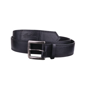 Leather Belt with Embossed Script Logo, Black