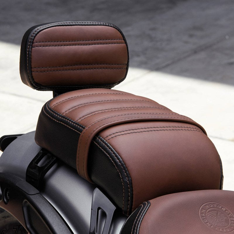 Genuine Leather Passenger Seat with Sissy Bar, Brown