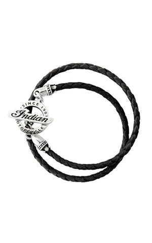Double Wrapped Black Leather Braid Bracelet with Alloy Indian Toggle Clasp