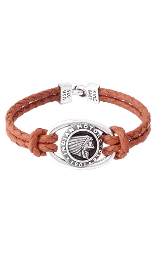 Double Brown Leather Braid Bracelet with Alloy Indian Icon and Hook Clasp