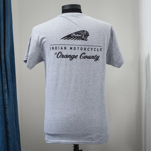 INDIAN MOTORCYCLE OF ORANGE COUNTY GREY DEALER TEE (VERTICAL)