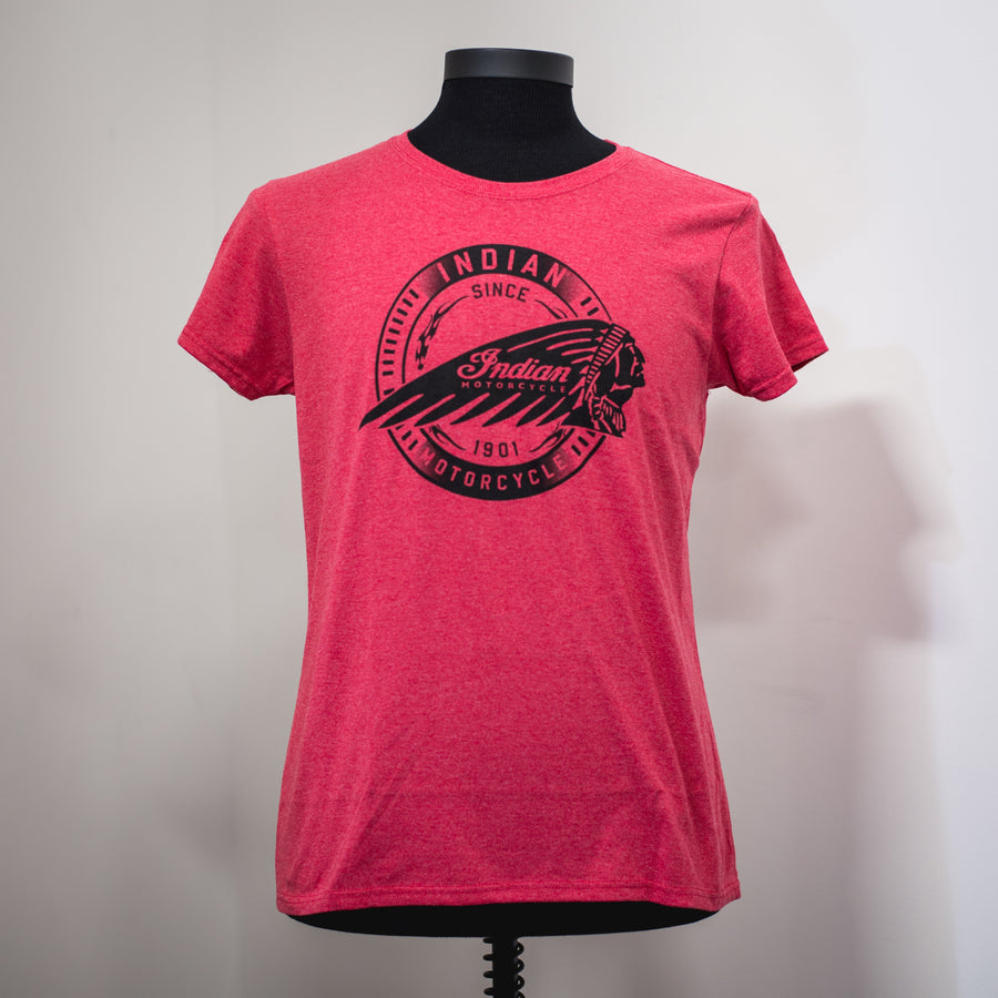 FEMALE INDIAN MOTORCYCLE OF ORANGE COUNTY RED DEALER TEE (TIRE LOGO)