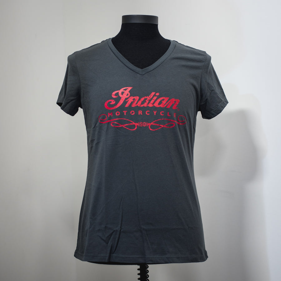FEMALE INDIAN MOTORCYCLE OF ORANGE COUNTY CHARCOAL DEALER TEE
