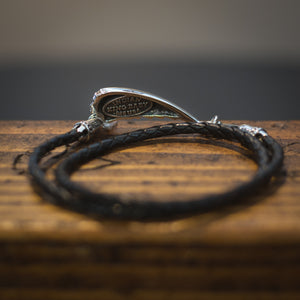 THIN BRAIDED BLACK LEATHER HEADDRESS DOUBLE WRAP BRACELET