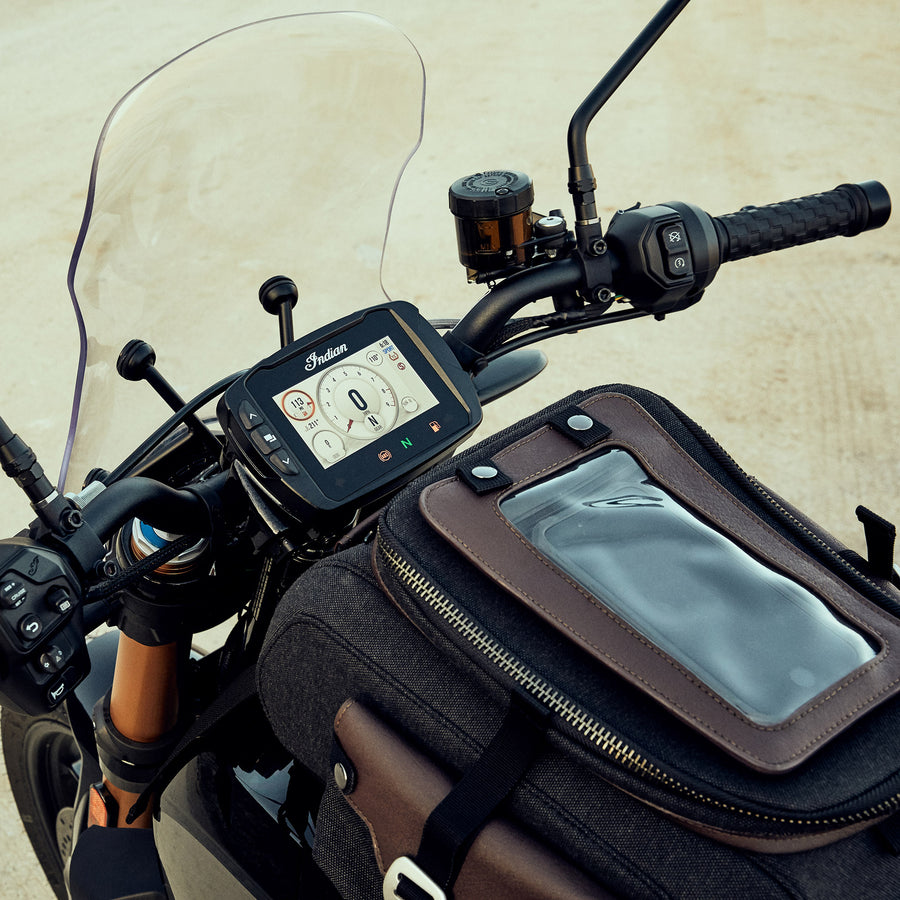 All-Weather Vinyl Tank Bag with Protective Phone Pocket, Gray/Brown (FTR1200)
